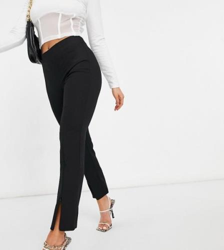Vero Moda Petite zip front trousers in black
