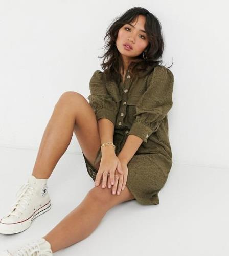 Vero Moda Petite mini lace shirt dress in khaki-Green