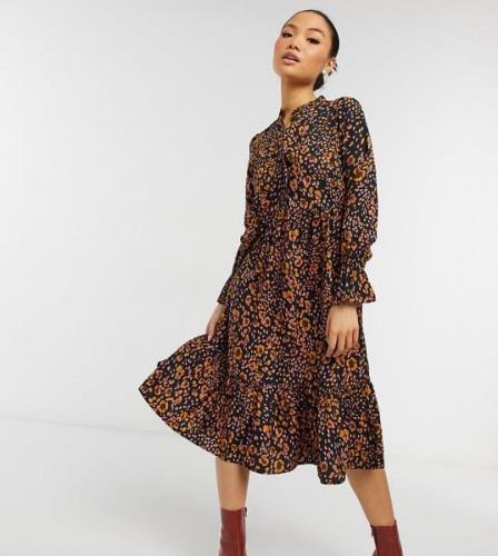 Vero Moda Petite midi dress with high neck in animal print-Multi
