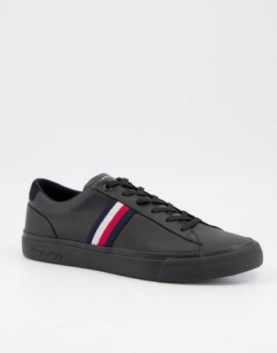 Tommy Hilfiger corporate leather trainer with side logo in black