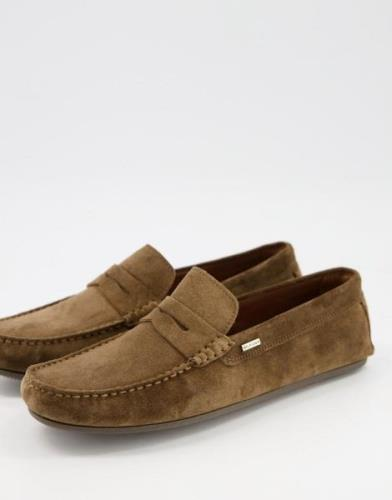 Tommy Hilfiger classic suede penny loafer drivers in beige-Neutral