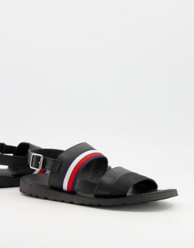 Tommy Hilfiger corporate leather sandals in black