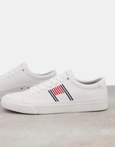 Tommy Hilfiger corporate leather trainers in white