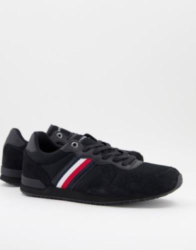 Tommy Hilfiger iconic mix runner trainer with side stripe logo in blac...