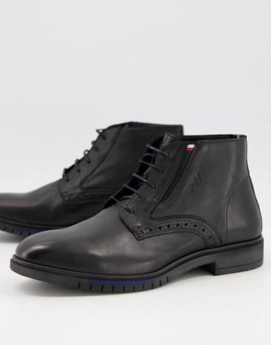 Tommy Hilfiger advance brogue boots in black