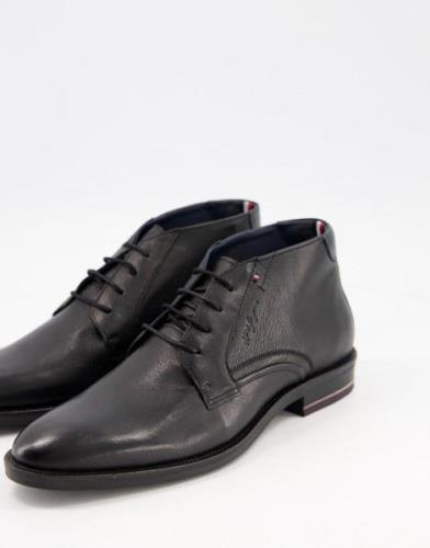 Tommy Hilfiger signature hilfiger leather boots in black