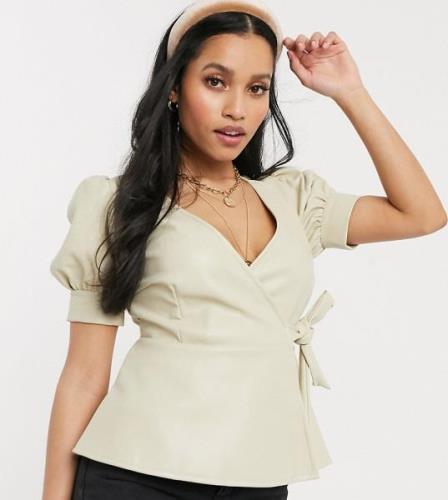 Vero Moda petite wrap top in faux leather in cream-White